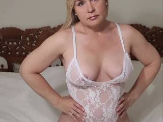 White lingerie playing teasing hubby