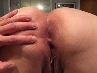 My girlfriend let me spread her sweet pink asshole open and take a couple of pictures.What do you think?