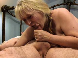 This is pure enjoyment for me. Would you like this shared wife stuffing her mouth with your cock?