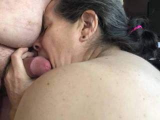 She nibbled away then licked then sucked.   What a good girl.   Bet you would like it