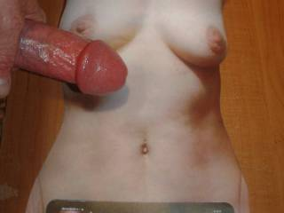 Stroking my lubed hard cock to Doublelifewife\'s sweet tit tribute she made for my cum load! Send me yours and Ill do the same!
