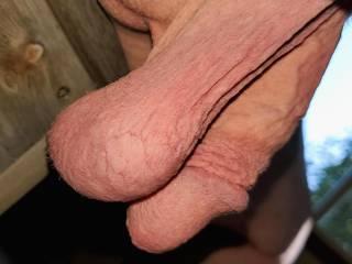 Impressive low Hanging white cock dick penis balls