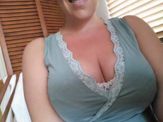 Went shopping and loved seeing everyone's eyes on my cleavage ..