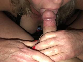 wife licking the head