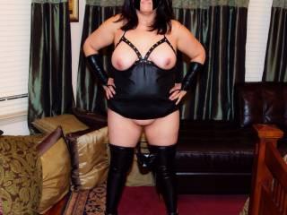 Kinky lingerie photo session.  Like my spiked heels?