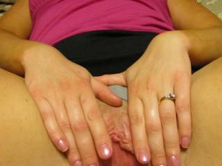 will you spread it wide open like this and let me tongue fuck your lil creamy pussy girl