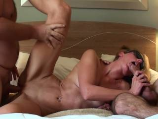 Nice!! Nothing better than sharing your wife..She looks Devine being fucked by the two of you..