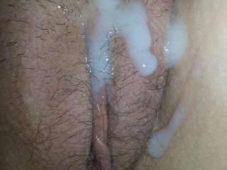I love warm cum all over my pussy. Anyone wanna help clean this up??