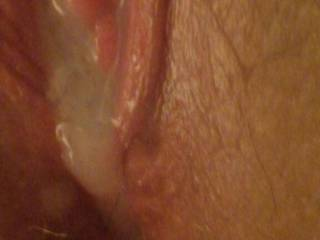 After hubby filled my pussy with a hot  load of creamy cum.