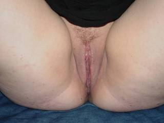 Trimmed pussy waiting to be eaten and fucked