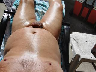 Soaking up the sun!!! I don\'t want summer to end, how about you??? Lets have fun in the sun. May I rub oil on your sexy bodies ladies?