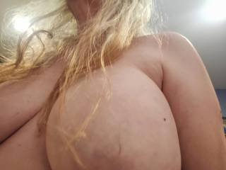Want to start with this big one, dear? Take care of my huge tits with your hard and throbbing cock. Fuck them and unload your love on them. Mmm...