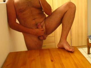 Lay me back on that table and slide your dick into my tight cunt...mmmm what a way to start the morning!