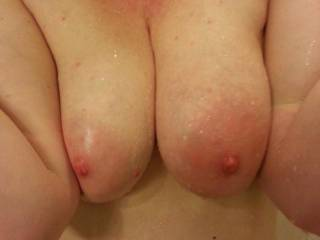 Think you could get her whole huge areola in you mouth?  Sure is fun to try!