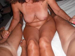 Threesome handjob fun with my Hubby and our swinger friend, when he came around recently for a play.