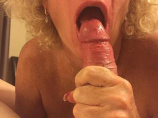 I asked her to wrap her hands around my cock and try and crush me while sucking my head as fiercely as possible. We then shared these pics with her hubby.