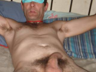 Hubby gave up & let me tie him, blindfold him & generally be the mistress for a couple of hours....