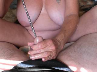 Four photos showing the progression of his cock taking this huge Sounding Rod, amazing to watch as it slides further and further until it is all inside his cock. I just love giving him a hand job while that long Rod is inside him. Who else wants a turn?