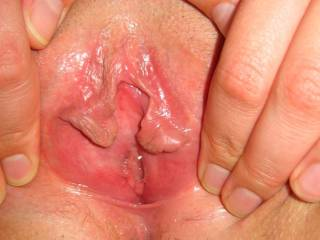 """Pussy lips spread wide to show cunt hole ready for cock... """"Fuck my hot wet cunt, shoot spunk all over my shaved pussy lips and I'll make my husband lick up your cum!"""" ;-)"""