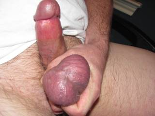 This photo was taken while I was in the process of building up a massive load to pay tribute to the sexy Tish69.  What do you think of cock and balls?