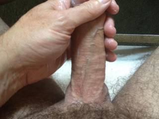 Rubbing my cock with the extra lotion that I had after rubbing my balls after shaving them