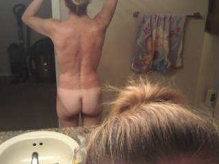 Just a rear view, do you like my tan lines?