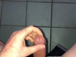 quick masturbation with a big cumshot in the public restroom at work :P