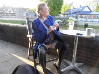 hi all just relaxing at a river side cafe last year dirty comments welcome mature couple