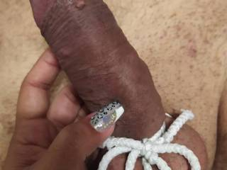 Wifey's first involvement in cock bondage 1
