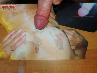 Watching nor100\'s hot reverse tribute video she made me got me so worked up I shot my warm cum all over her tits tribute pic she also made for my cumload!