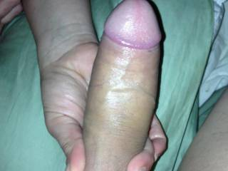 Love the way she handles that beautiful shaved thick cock. Wish I was there