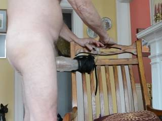 Using the flashlight along with a penis insert connected to a semen collection tube.  Inserted the plug/tube and stepped into the artificial vagina.  Stroked to an ejaculation, withdrew from the pussy and plug, then I blew the jizz out of the tube while i