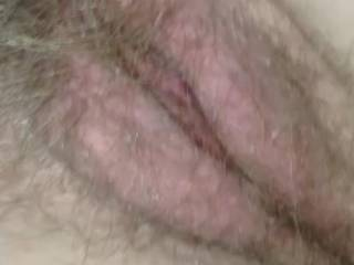 My wife's hairy pussy getting ready to get fucked hard