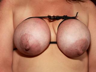 Wifes tits all tied up and ready to play .... what would you do with her