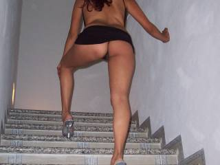 Like to be sitting on the stair in front of you so that you can squat like that on my face and I can pull your panties to one side and lick, kiss and suck on your pussy as you watch my cock get harder and harder.