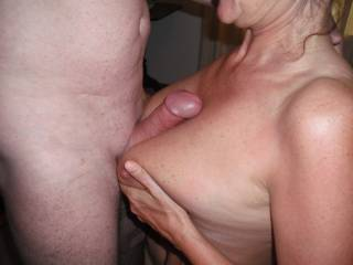 I've just had a blow out if an orgasm wanking over your picture imaging that's my covk between those perfect tits. Thank you!