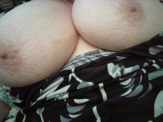Pulled my dress down to play with my tits.