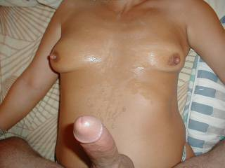 A nice CUMBATH all over my titts and belly from my hubbies big fat cock