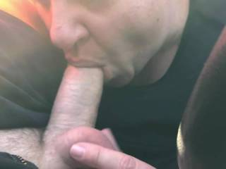 Blowjob from naughty housewife in a car park.