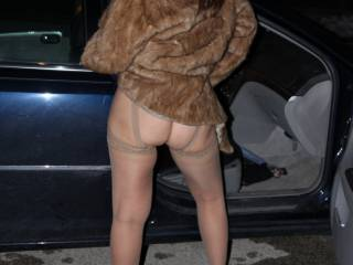 It's date night and my hubby took me to an expensive restaurant, so I dressed the part. No bra, no panties and plenty of access to my sweet little pussy. On the drive home, hubby stopped and I decided to show him the goods. Guess what happened next?