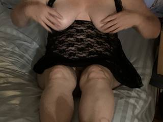 Rubbing her tits in her new Sexy Lingerie