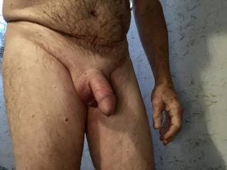 Just finished in the shower, my cock is still swollen. Nicely shaved too.