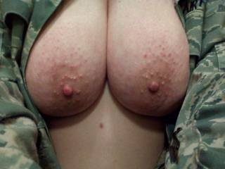 WOW! That's nice!..I love bumps around nipples like that. Feels good to rub them around the head of my cock.