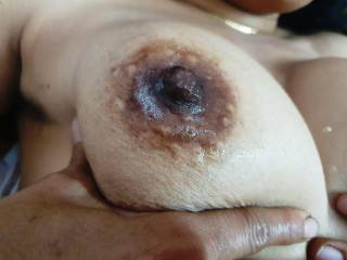 One of your\'s saliva on my boob !! Please tell me who was last night fucked me so hard and lovingly ????