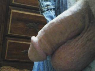 After a day at work, getting naked, letting my cock and balls free.