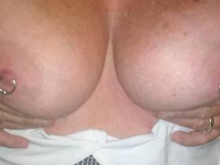 Love your beautiful tits and nipple rings...looks like fun!!