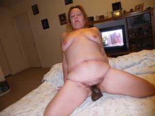 Riding her bbc toy