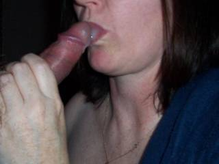 I would not complain, if I had her sexy mouth around my big end, you are some lucky guy... just love your Pics........