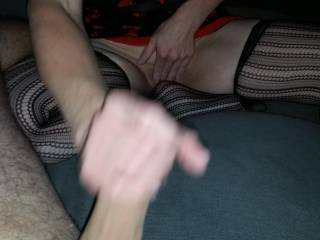 she jerking me off while touching herself