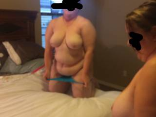 Wife taking her panties off for her new friend
